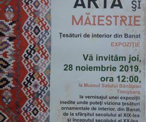 Artă și măiestrie – expoziție de țesături bănățene – 28.11.2019 ora 12.00 la MSBT